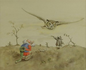 Lot 174: Werner Wildner Watercolor, Owl and Gnome