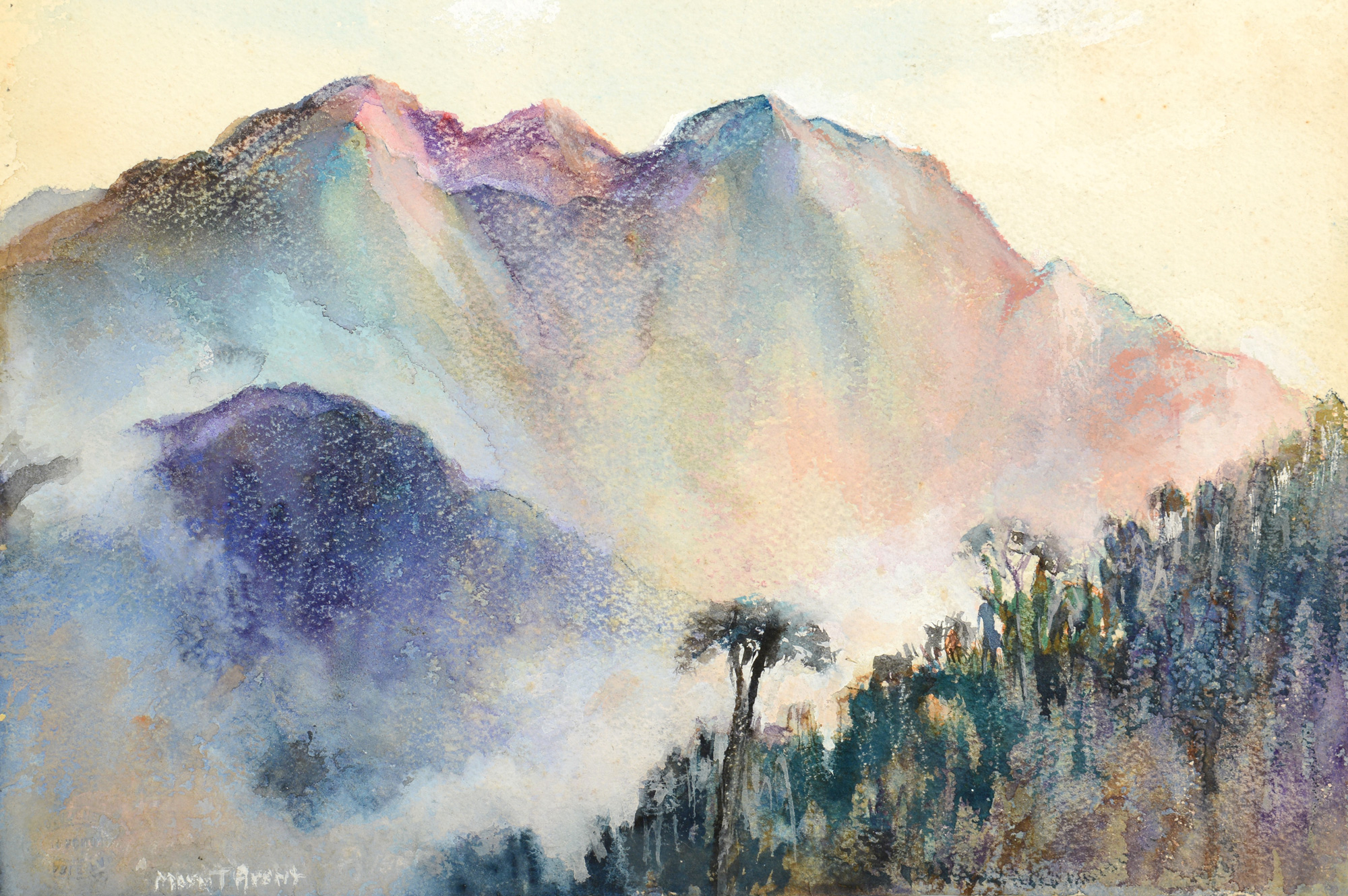 Lot 724: Mayna Treanor Avent Mountainous Watercolor