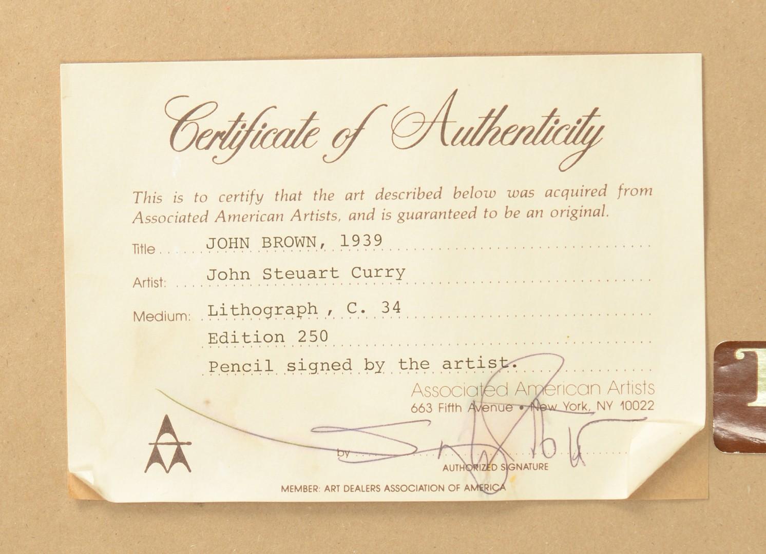 Lot 211: John Curry Lithograph, John Brown