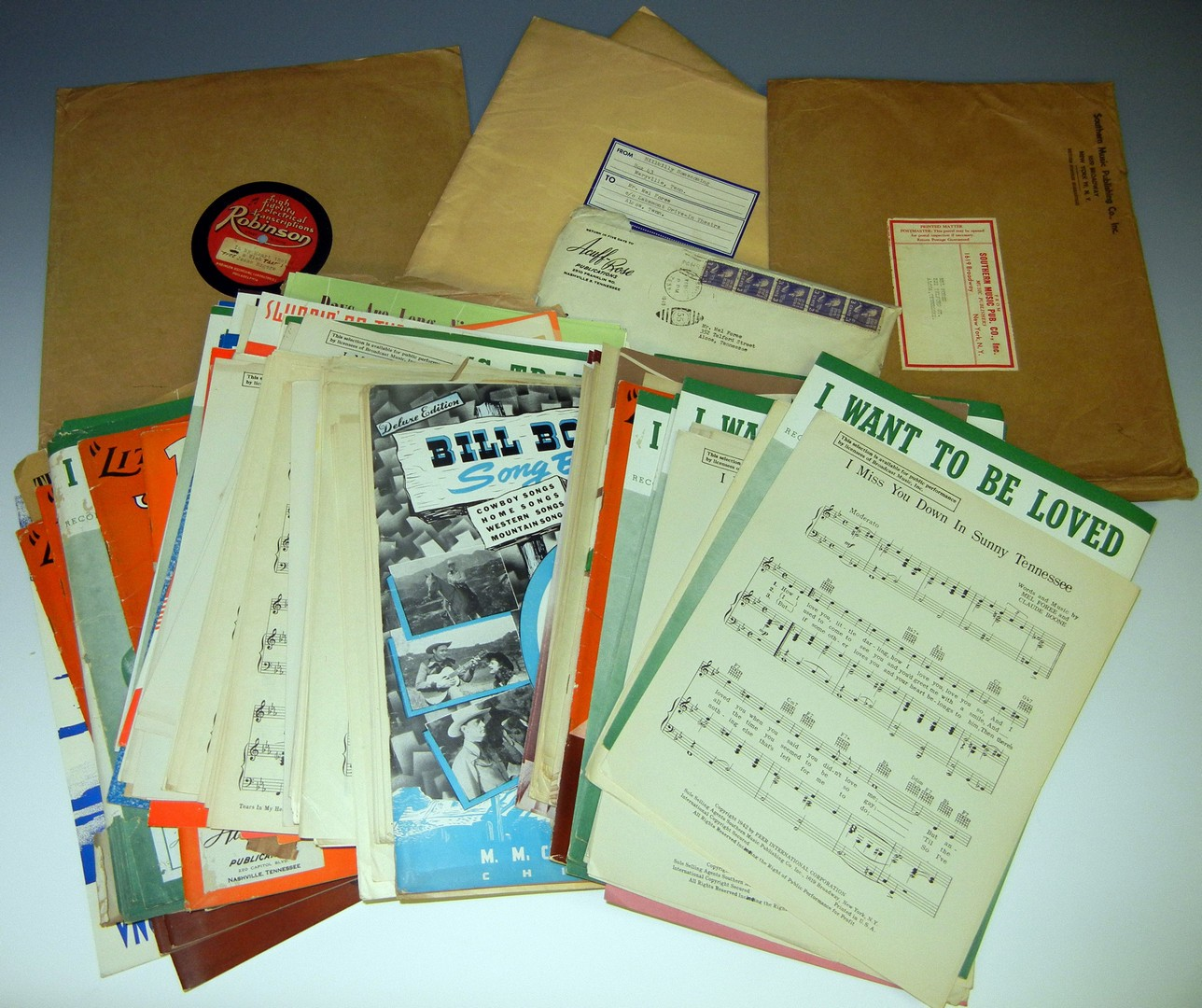 Lot 732: Box of Country Music handwritten songs by Mel Fore
