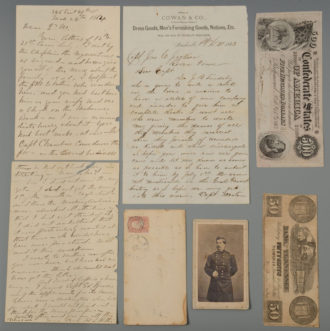 Lot 375: Grouping of Civil War Era Items Inc. Currency
