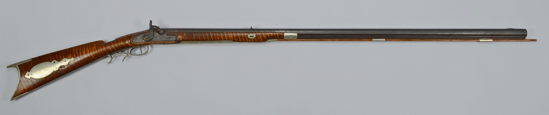 Lot 397: Half Stock Percussion Rifle, Inlays
