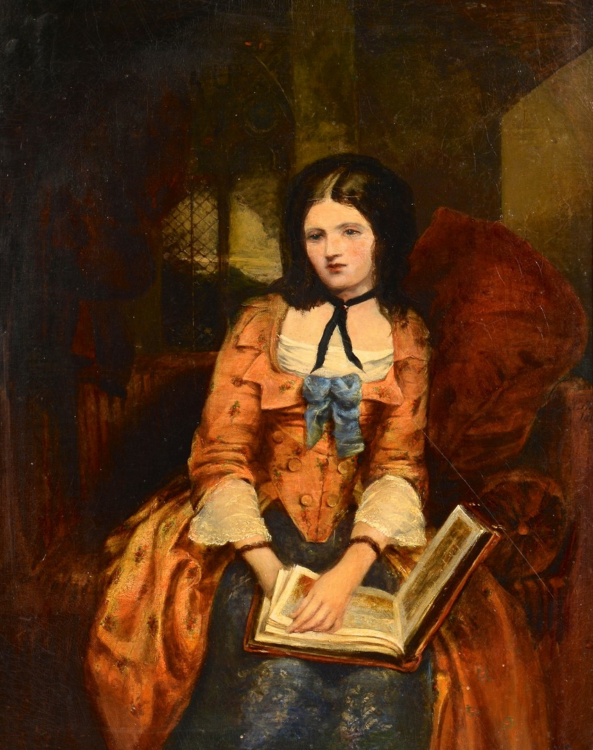 Lot 169: Victorian Painting, Lady with Book