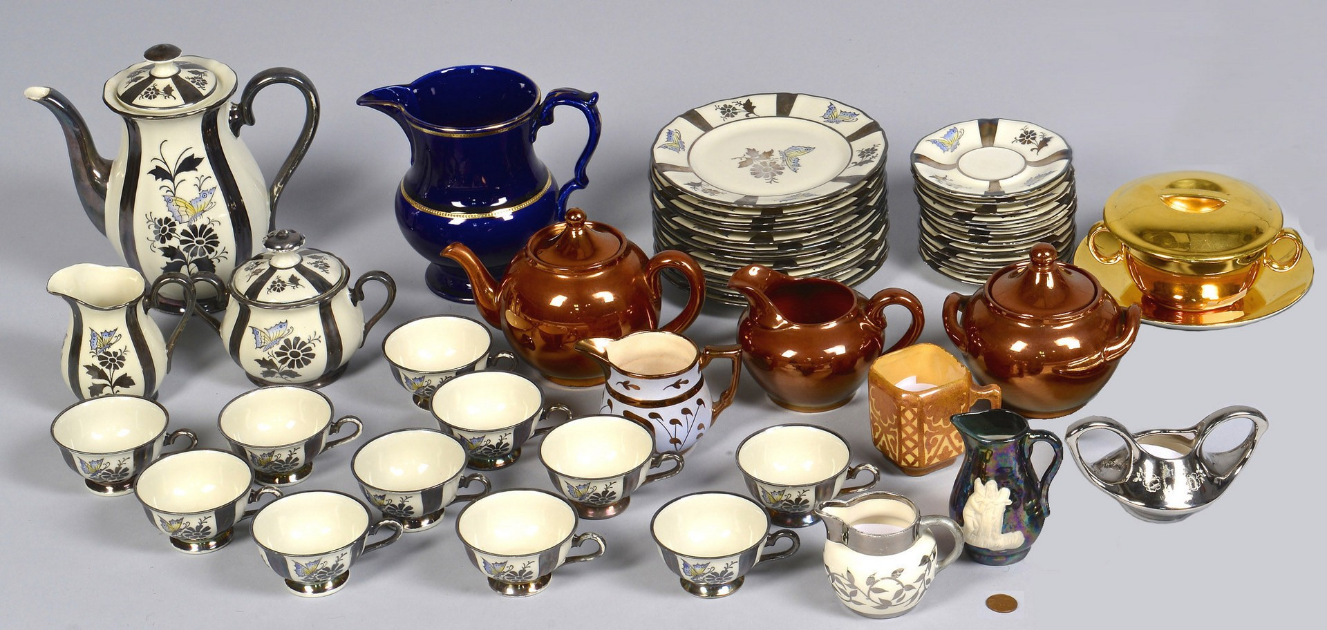Lot 727: Group Silver and Copper Lusterware, 49 pcs.