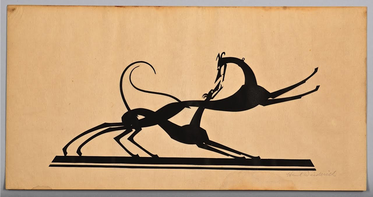Lot 198: W. Hunt Diederich Paper Silhouette, 2 Greyhounds