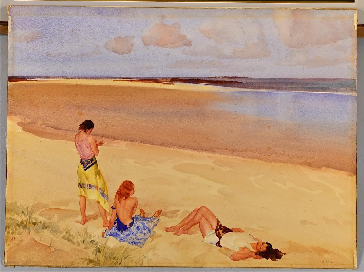 Lot 210: Sir Wm. Russell Flint Watercolor Beach Scene
