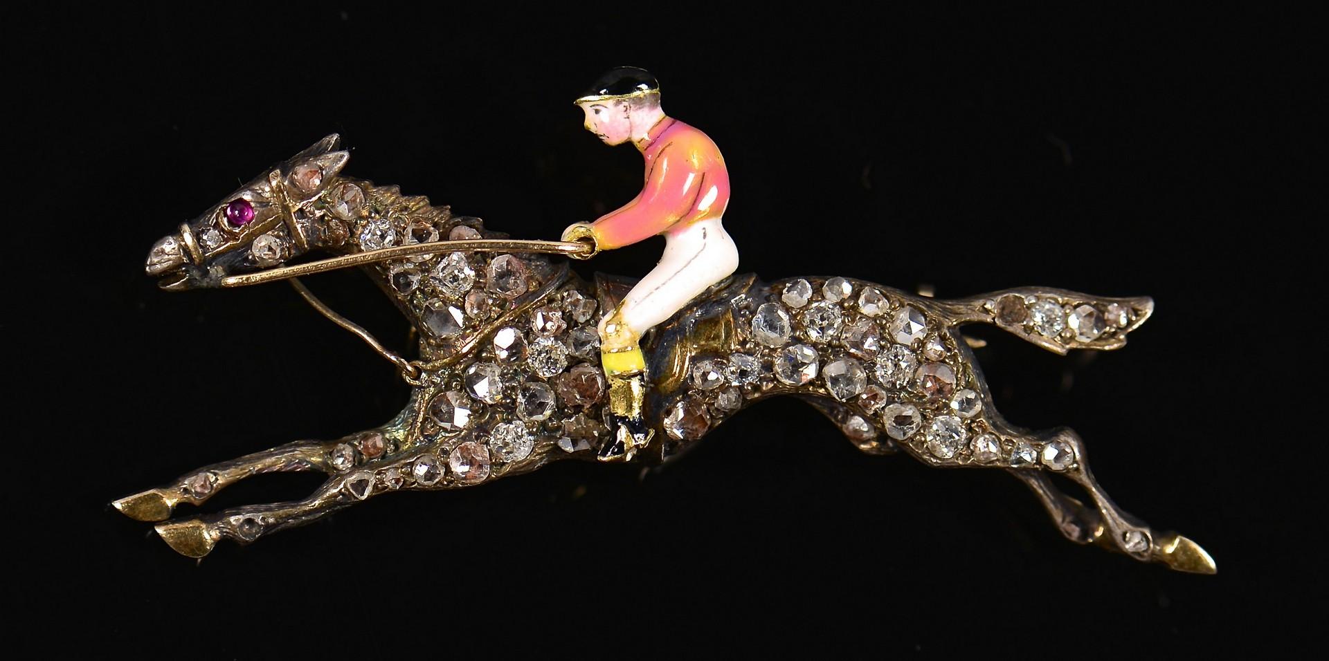 Lot 77: 14K Diamond Horse Jockey Pin