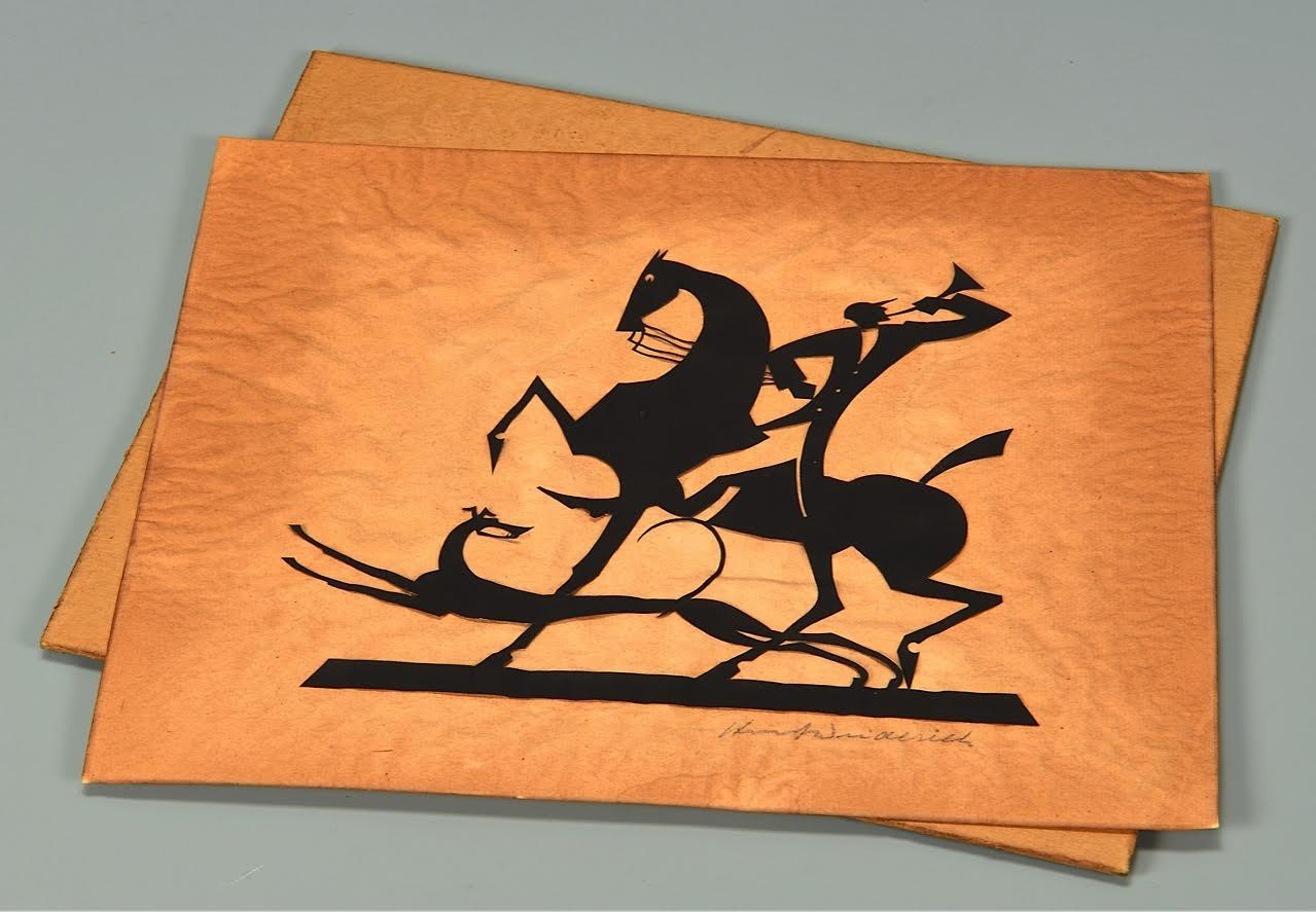 Lot 200: W. Hunt Diederich Silhouette, Hunter & Greyhound