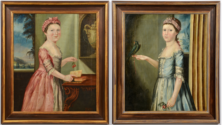 Two sisters (one is signed TPT, dated 1772). Est. $3,000-3500 per each