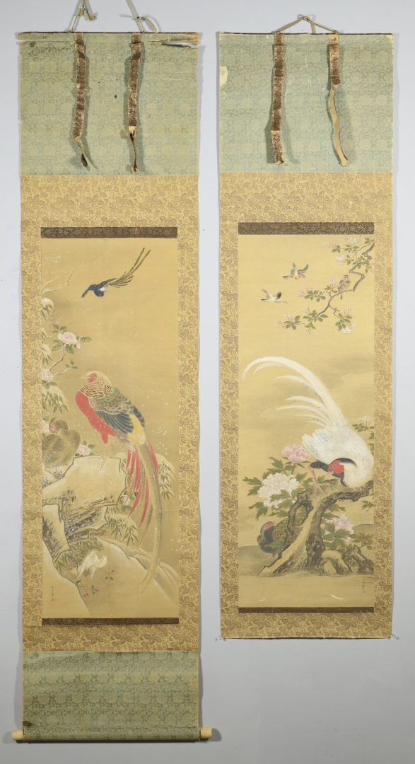 Lot 17: Pair Japanese Kano Scrolls from 4 Seasons