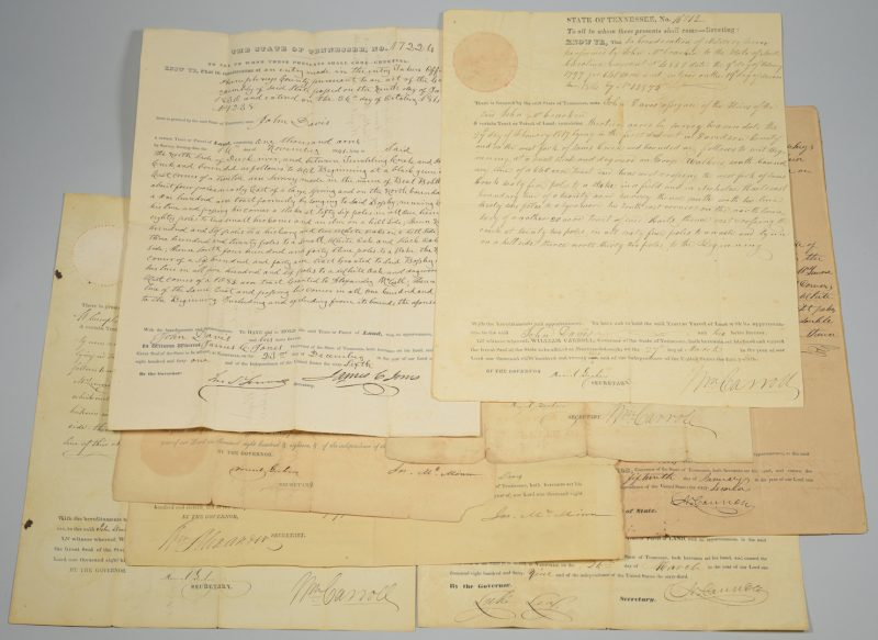 Lot 739: 8 Land Grants signed by TN Governors