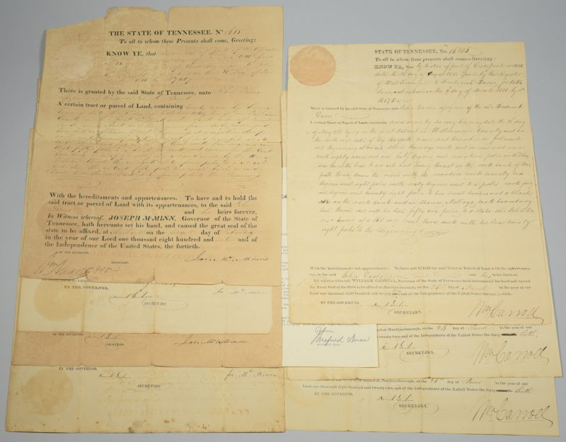 Lot 740: 8 TN Governor Signed Land Grants & 1 Letter