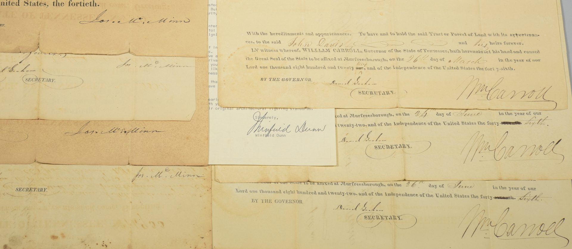 Lot 740: 8 TN Governor Signed Land Grants & 1 Letter