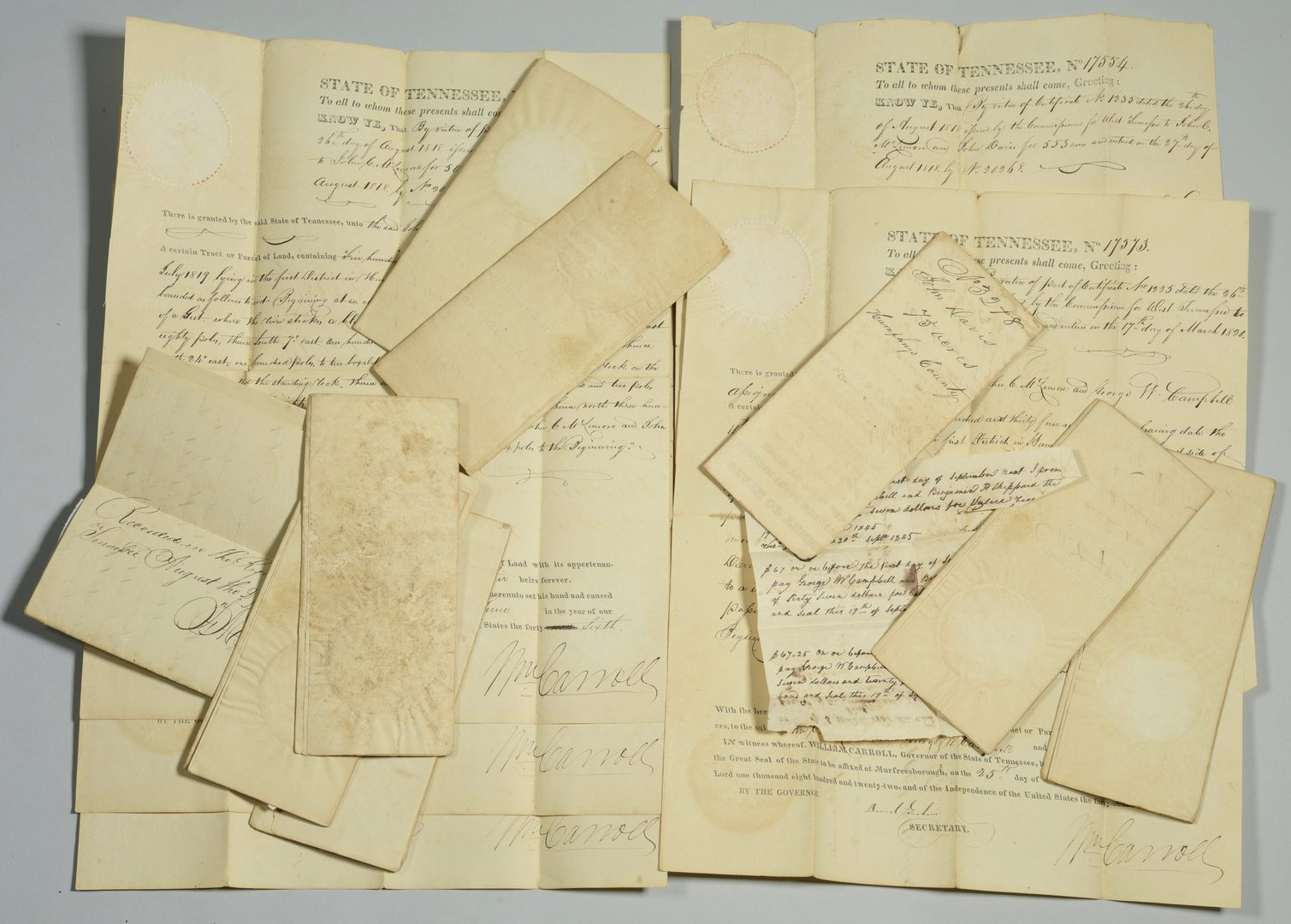 Lot 743: 14 TN Land Grants, Gov. Wm. Carroll signed