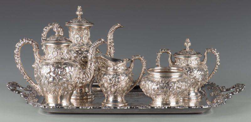 Kirk Repousse Sterling Tea Set, 5 pcs.