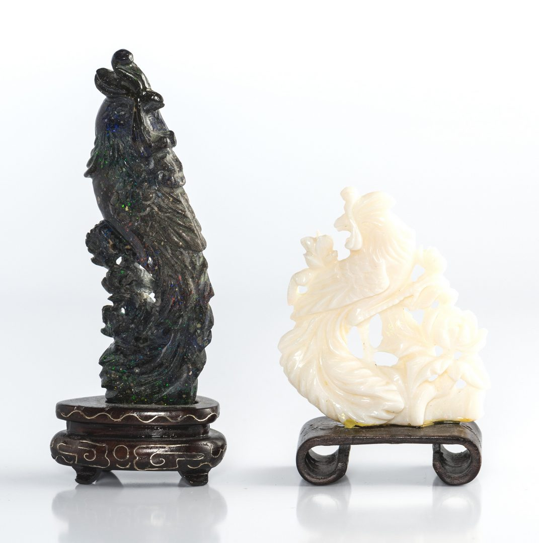 Lot 10: Coral and Lapis carved birds
