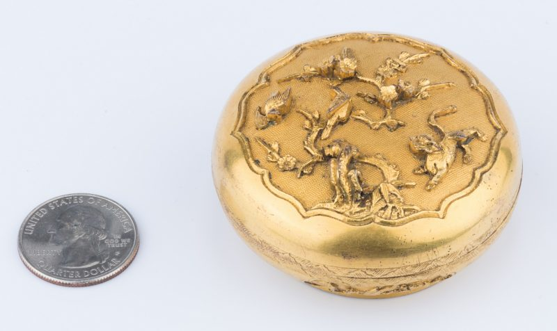 Lot 12: Chinese Gilt Bronze Stamp Ink Box