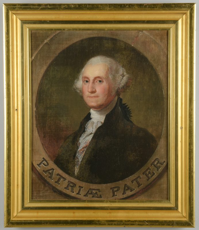 Lot 170: M. De Franca 19th c. oil of George Washington