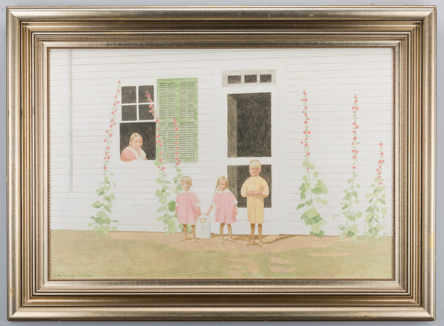 Lot 181: Carroll Cloar painting, The Watering Detail