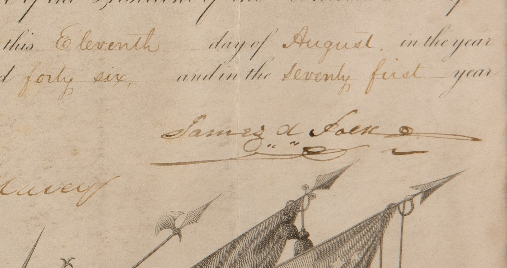 Lot 194: James K. Polk and Wm. Marcy Signed Commission