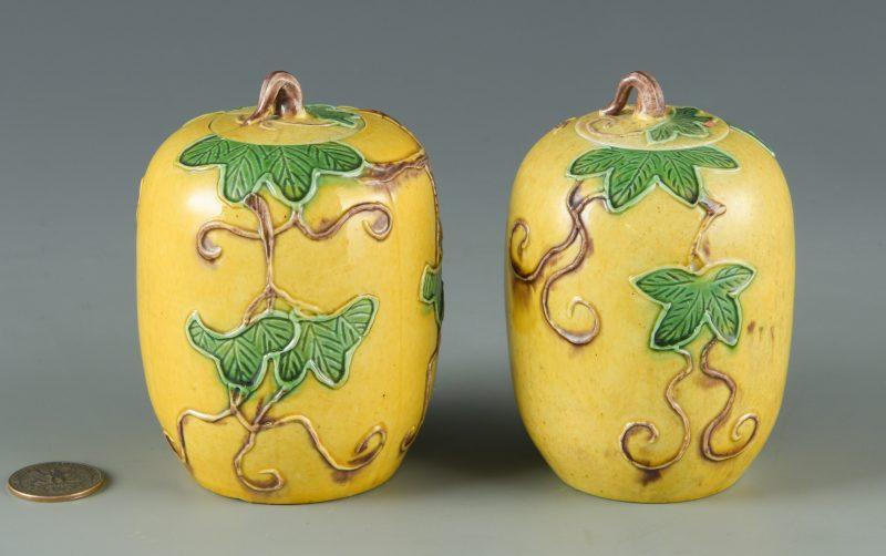 Lot 29: Pair Sancai Glazed Miniature Jars