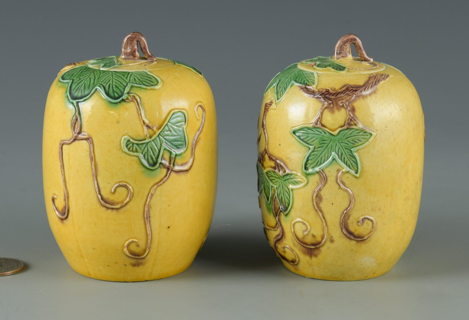 Lot 29: Pair Sancai Glazed Miniature Jars