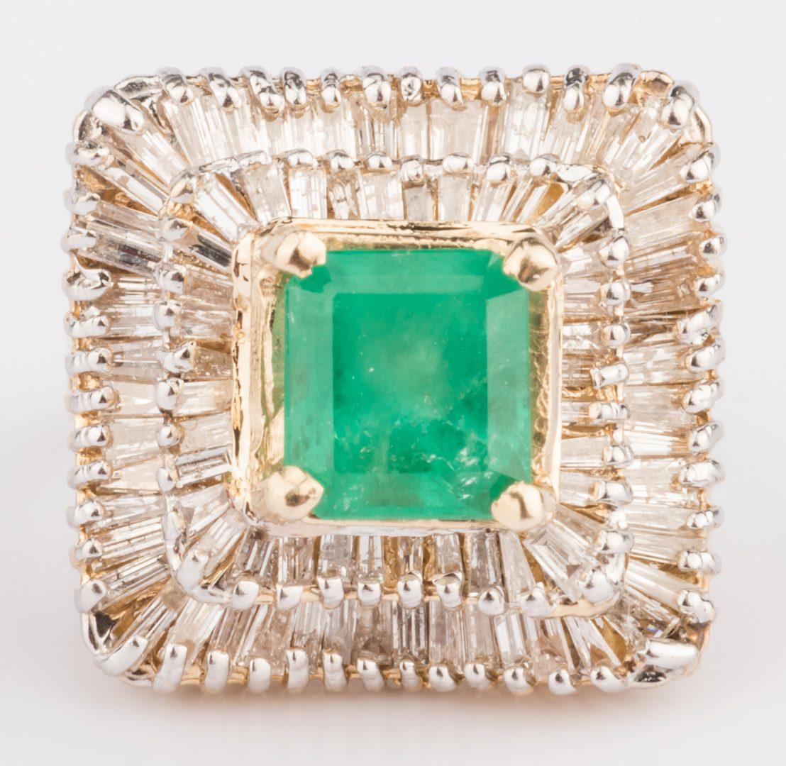 Lot 313: 14K Emerald & Diamond Dinner Ring
