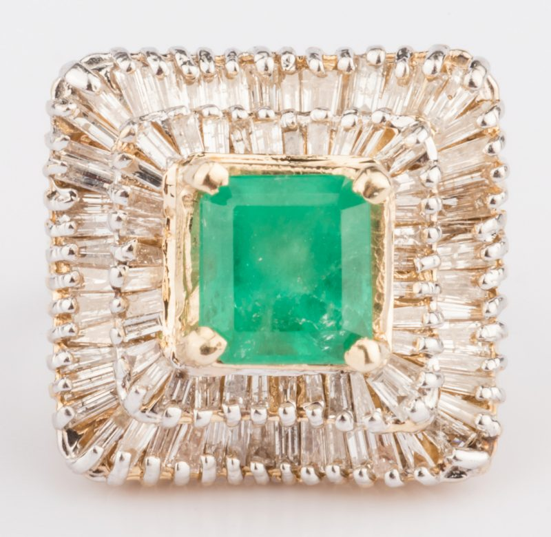 Lot 313: 14K Emerald & Diamond Dinner Ring