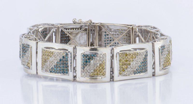 Lot 327: 14K Colored Diamond Bracelet by Freeze