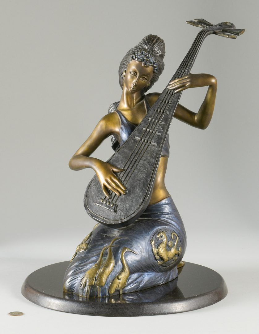 Lot 38: Bronze Pipa Melody Sculpture, Jiang Tie-feng