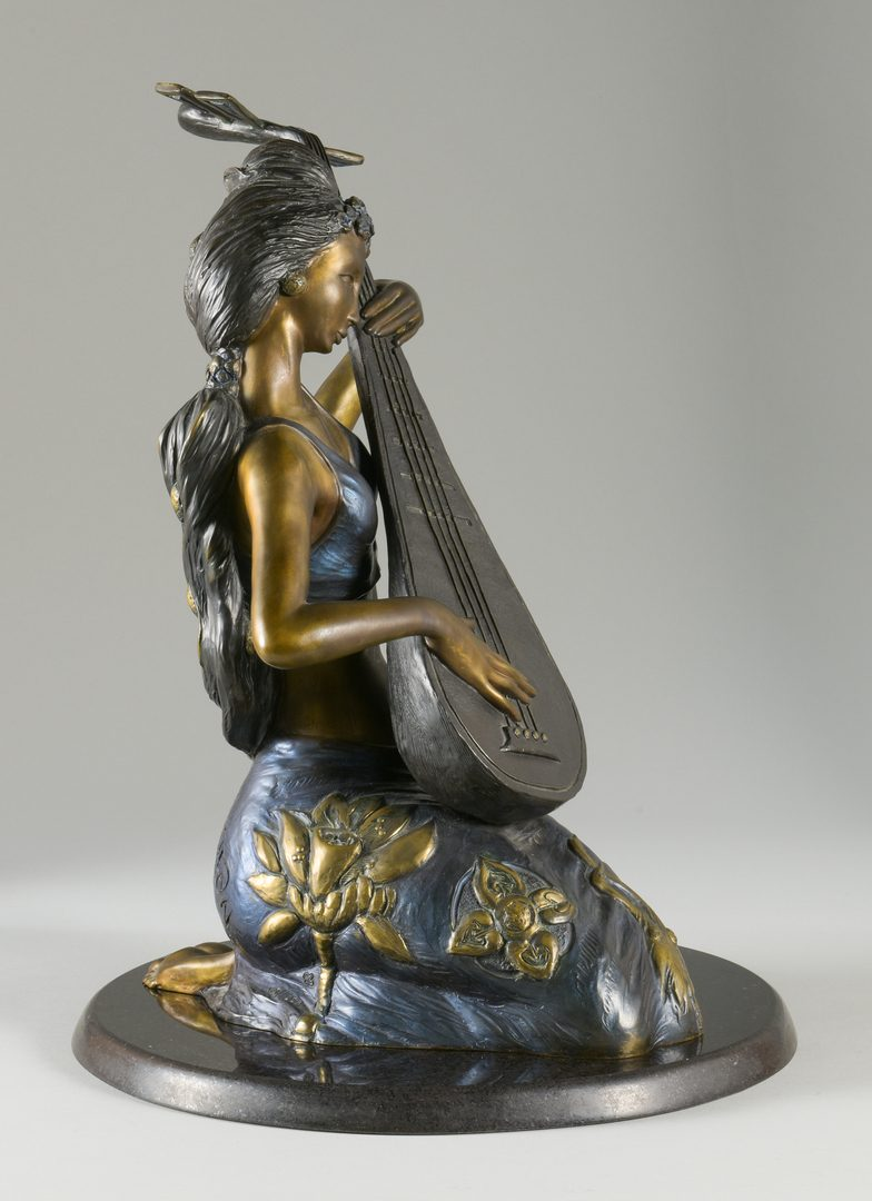 Lot 38: Bronze Pipa Melody Sculpture, Jiang Tie-feng