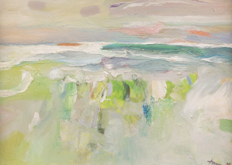 Lot 394: Reuben Tam Oil on Board Abstract Seascape