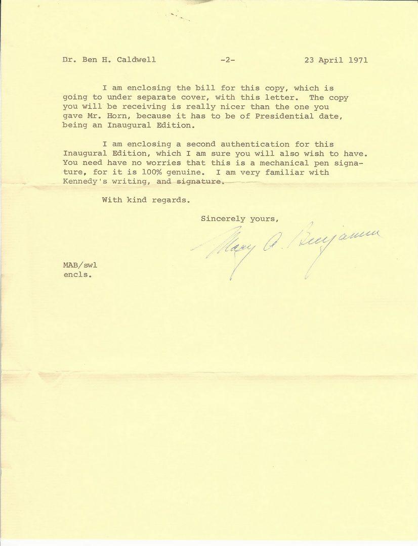 Lot 566: John F Kennedy autographed book