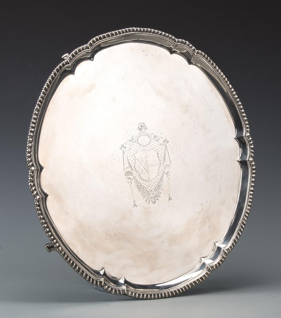 "Lot 60: George III Sterling Salver, 19"" diam."