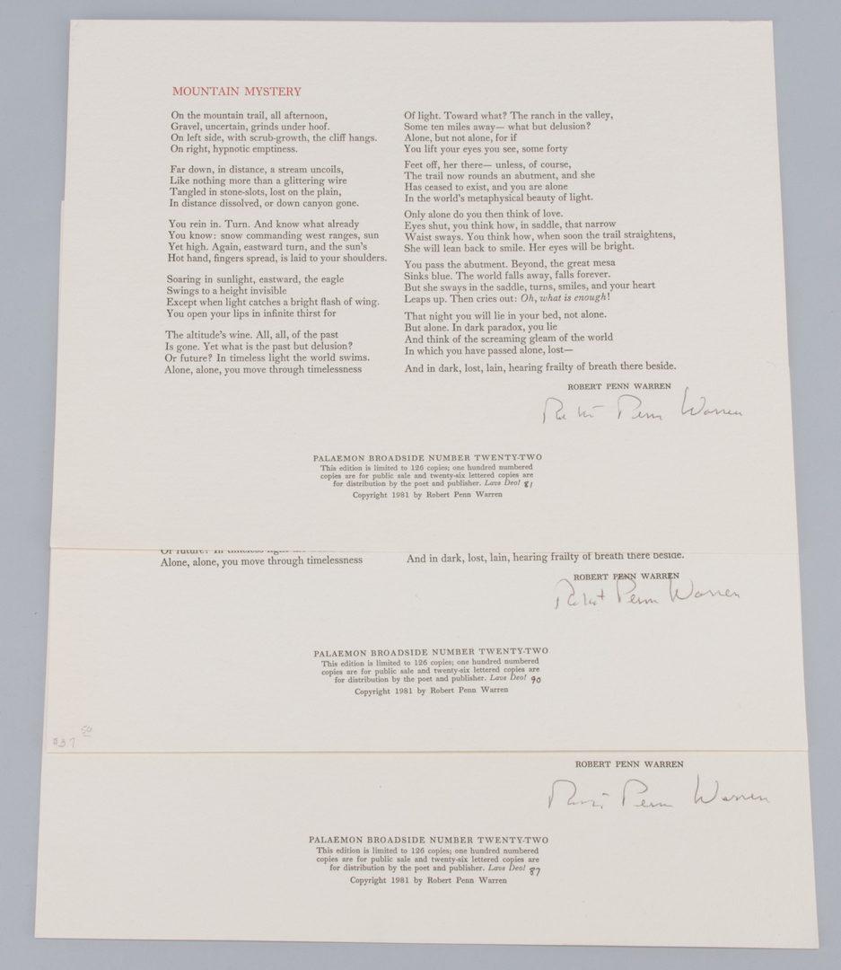 Lot 855: 7 Signed Poetry Broadsides