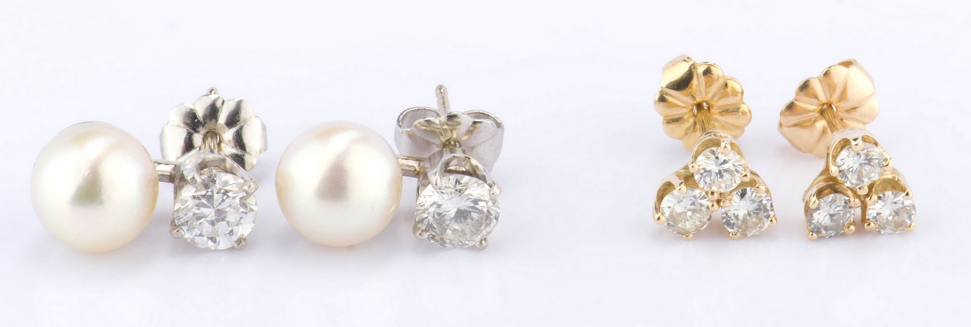 Lot 888: Two Pair Diamond Earrings
