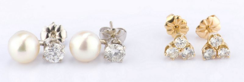 Lot 888: Two Pair Diamond Earrings