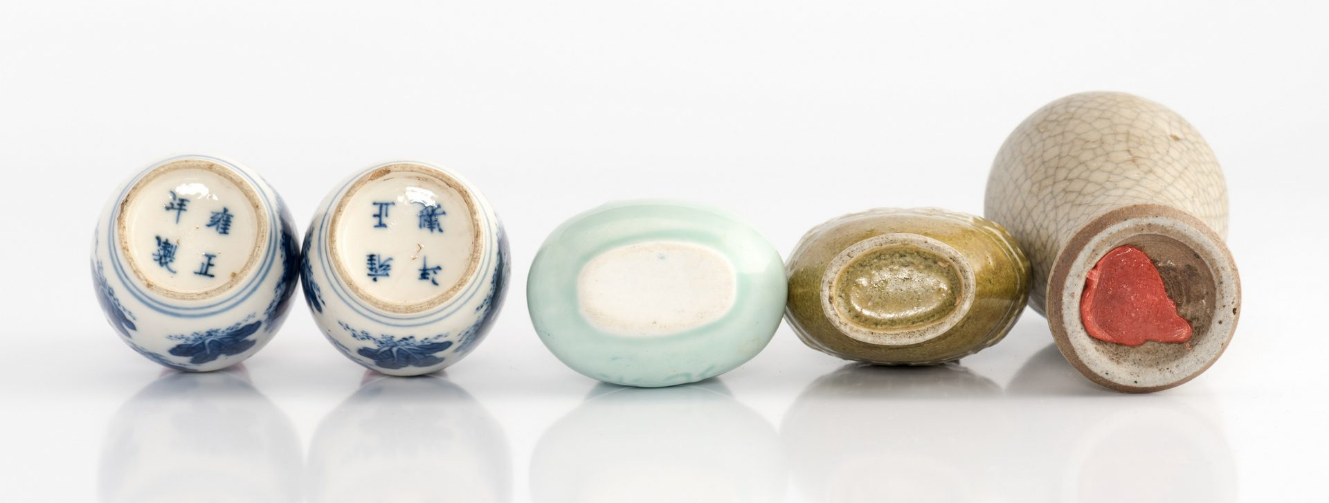 Lot 9: Collection of 5 Ceramic Snuff Bottles