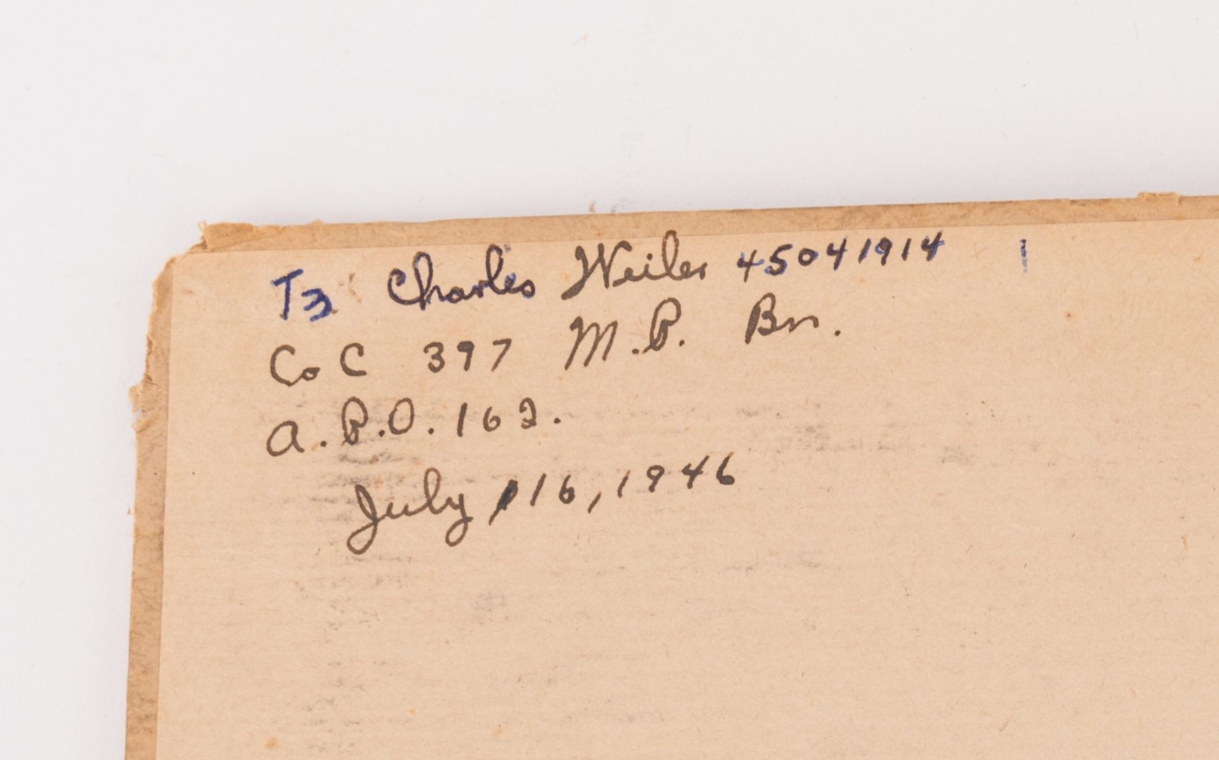 Lot 779: Post WWII Archive of Charles Weiler, 47 items total