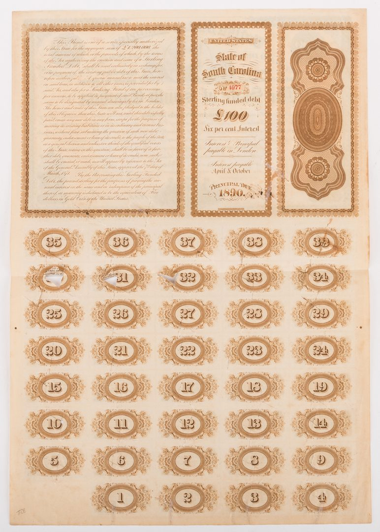 Lot 889: Grouping of 3 Confederate Bonds & 1 SC Bond Note, 4 items