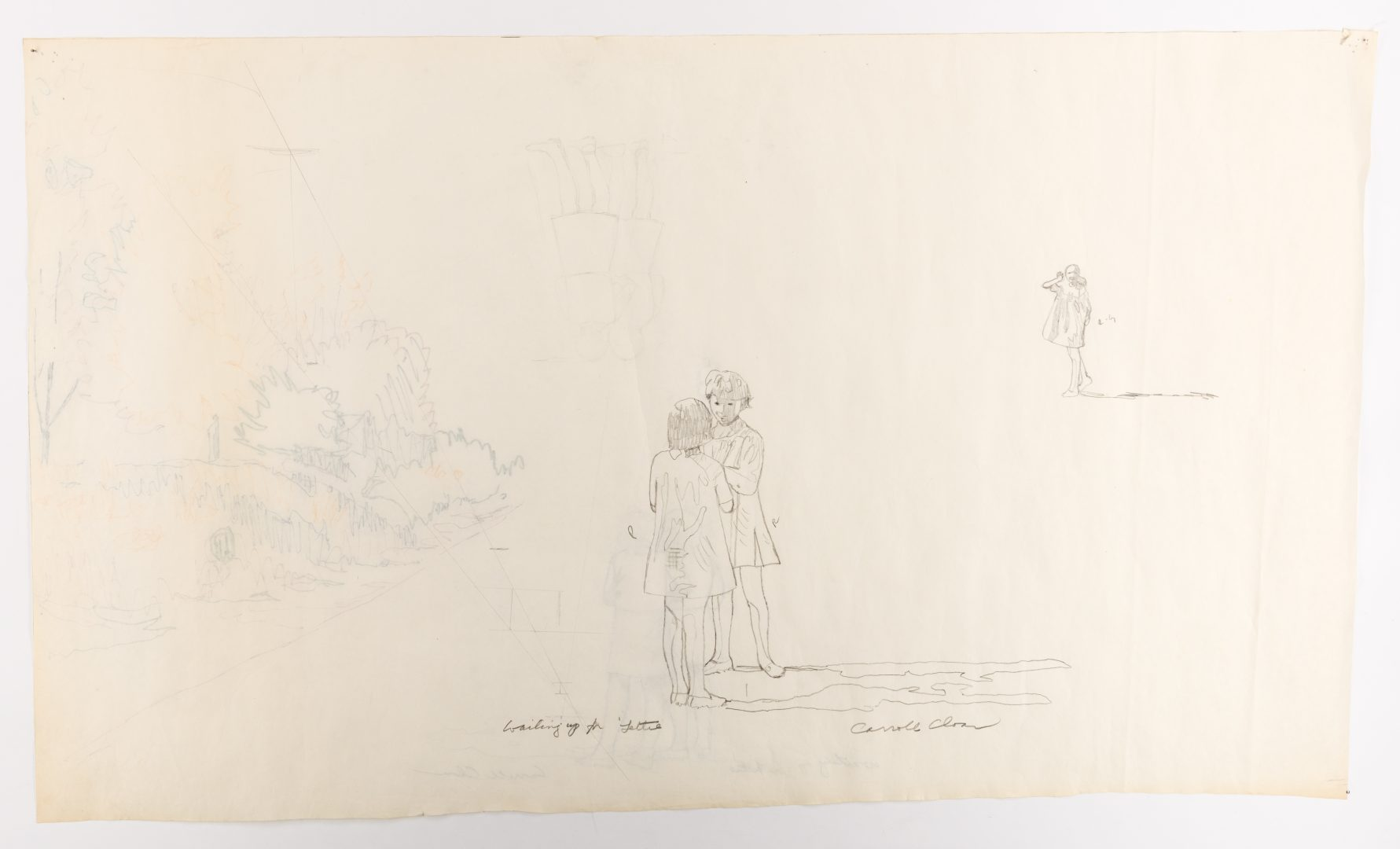 Lot 128: 2 Carroll Cloar Drawings, Waiting Up for Lettie