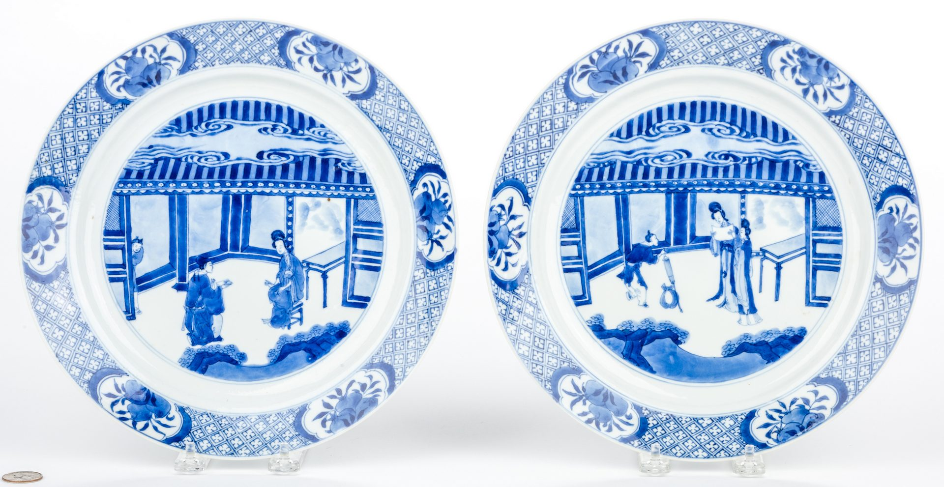 Lot 21: Qing Dynasty Blue & White Porcelain Plates