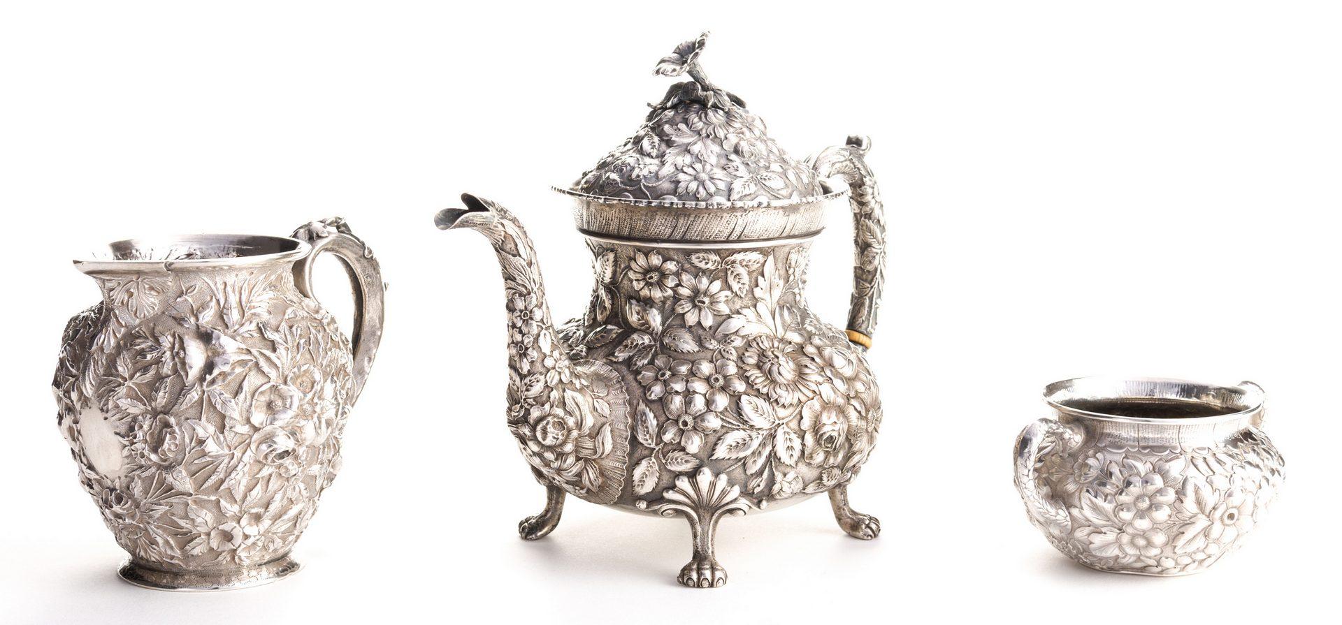 Lot 290: Antique Sterling Repousse, incl. Teapot, 3 pcs