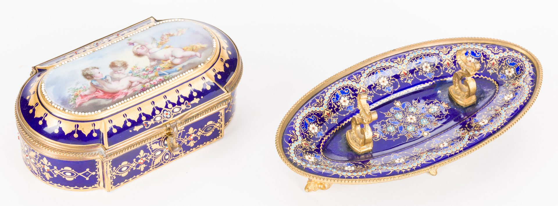 Lot 45: 19th c. French Enamels: Box & Tray