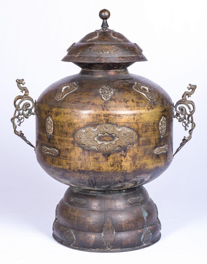 Lot 29: Large Asian Bronze Lidded Storage Vessel, Prob. Chinese