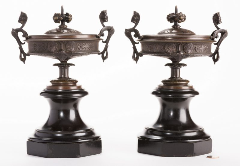 06e0770cac4 Pair of French bronze Classical style lidded urns