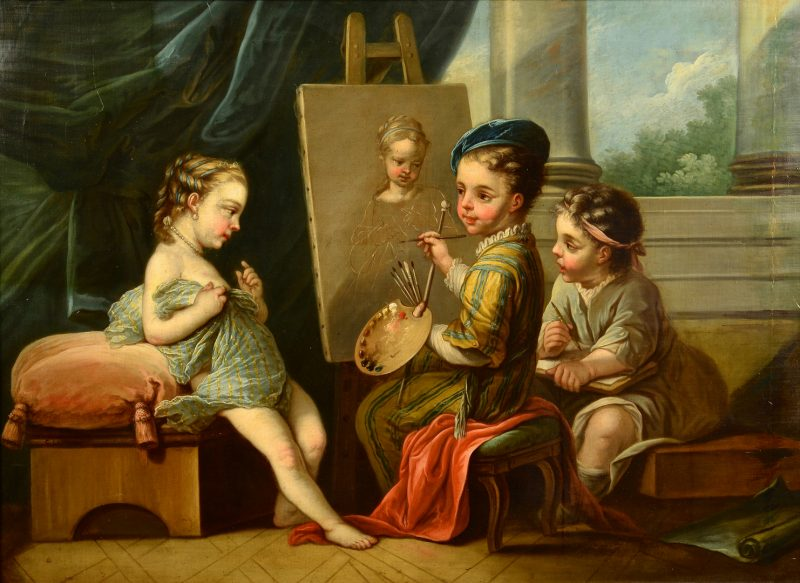 Lot 167: 19th Cent. French Oil after Charles A. Van Loo