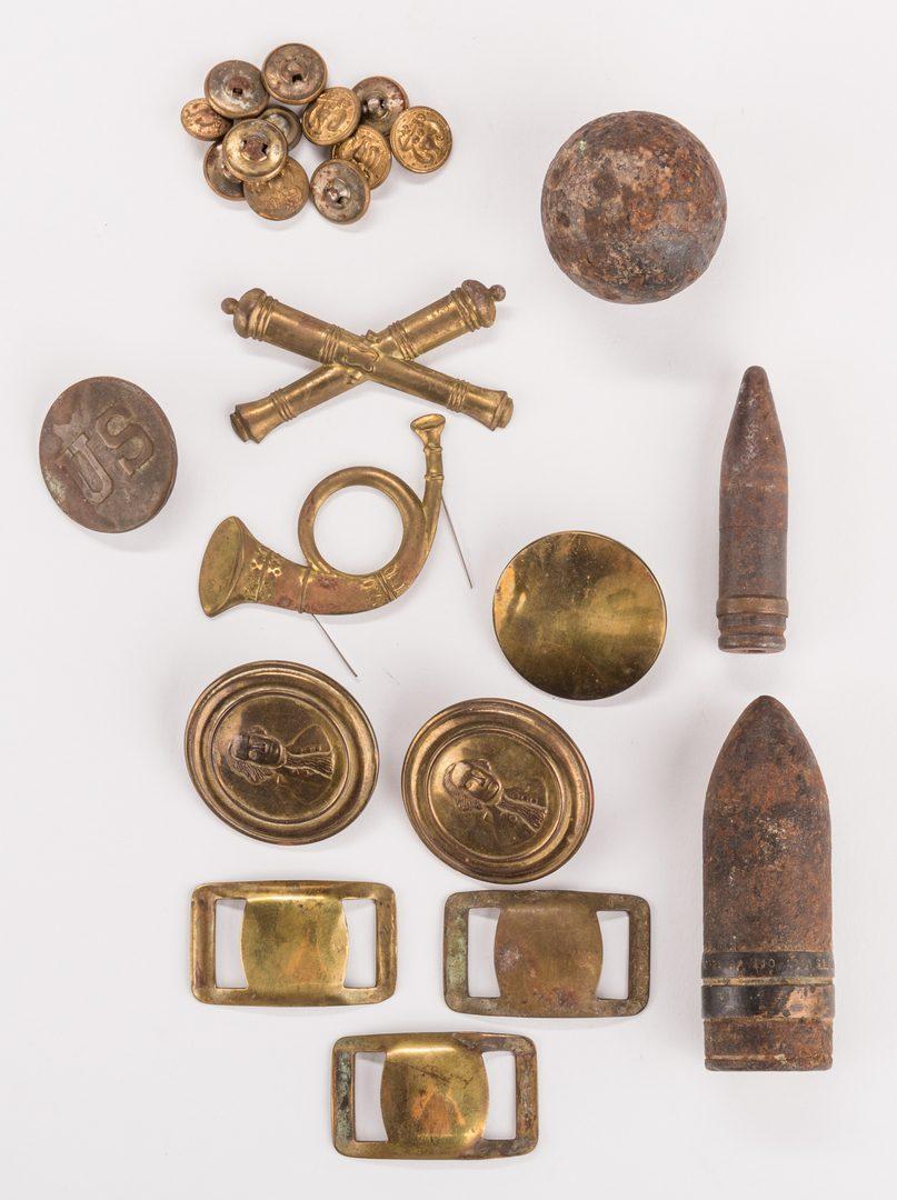 Lot 207: Assorted Civil War Ephemera, inc. Relics, 48 pcs