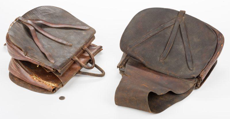 Lot 219: 2 TN Civil War Era Crow or Y-Strap Leather Saddlebags, Greene Co.