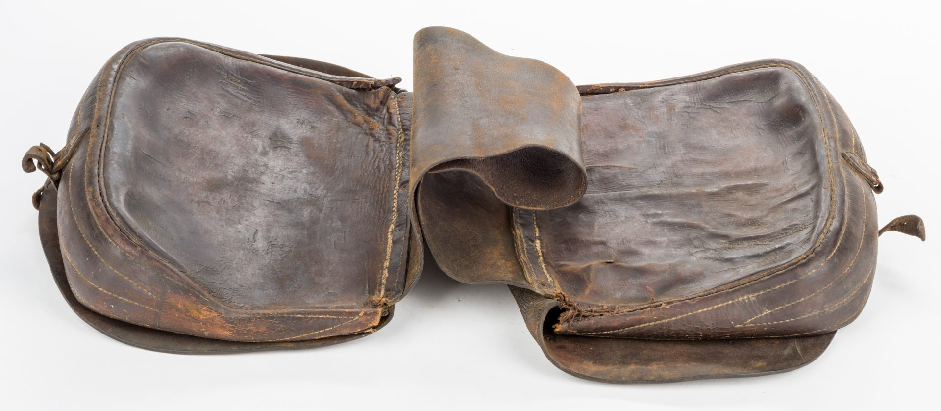 Lot 219: 2 TN Civil War Era Crow or Y-Strap Leather Saddlebags, Greene Co.
